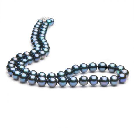 Collier perle noire - Collier noir - Perles eau douce Chine - 7/7.5mm