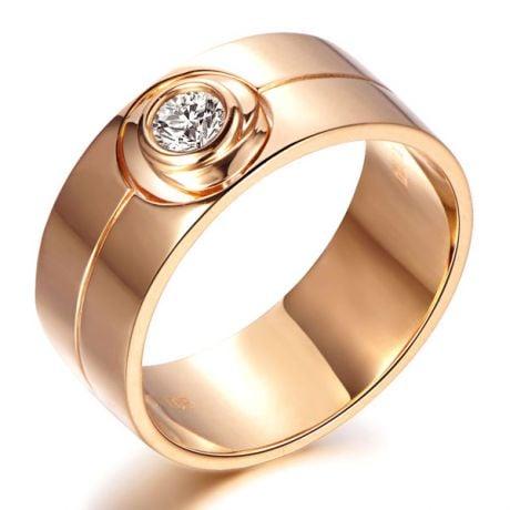Bague homme type chevalière - 8mm or rose 750/1000 - Diamant 0.20ct
