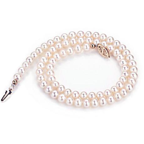 Collier perles de culture d'eau douce blanches - 5/5.5mm - AA+