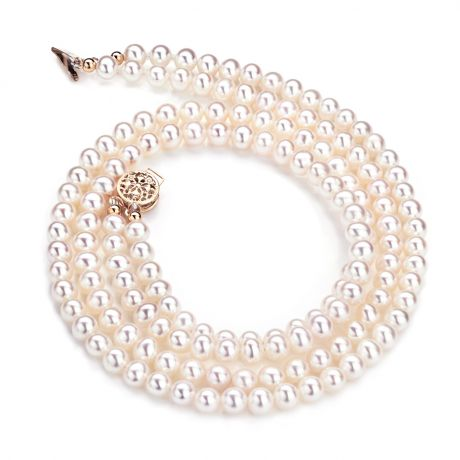 Collier double rang perles culture - Perle eau douce blanche 5/5.5mm