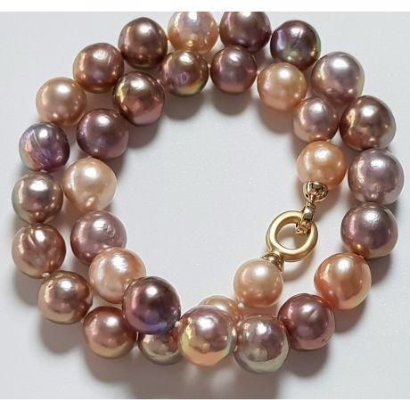 Collier Grosse Perle Rose à Lavande - 12/14mm - AA+