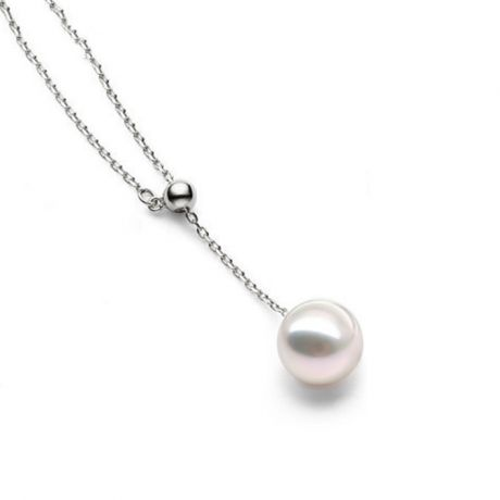 Pendentif perle Akoya 8/8.5mm. Chaîne coulissante Or blanc