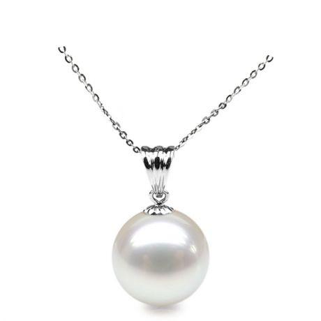 Collier une perle blanche - Pendentif or blanc