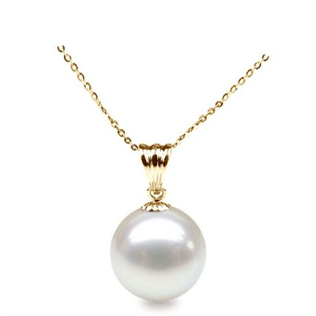 Collier une perle blanche - Pendentif or jaune