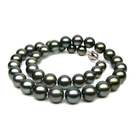 Collier perles de culture Tahiti grises foncées et bronzes -9/11mm