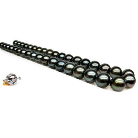 Perle noire collier - Perles de Tahiti 10/11mm - Perles de culture AAA