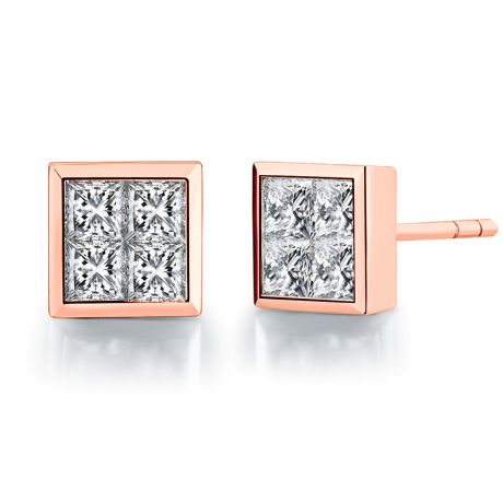 Boucles puces diamants princesse 0.40ct. Or rose. Personnalisable