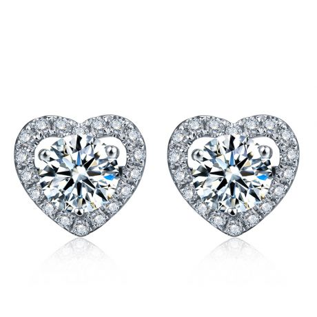 Boucles Oreilles diamants 0.50ct. Or blanc. Coeur