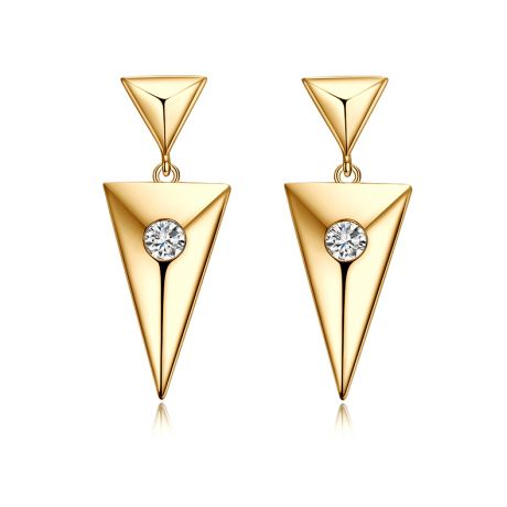 Pendants d'oreilles triangles Or jaune. Diamants 0.10ct