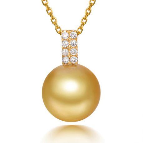 Pendentif bélière rectangulaire or jaune, diamants. Perle d'Australie dorée