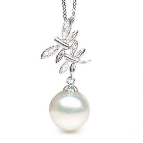 Pendentif libellules - Perle d'Australie blanche - Or blanc, diamants
