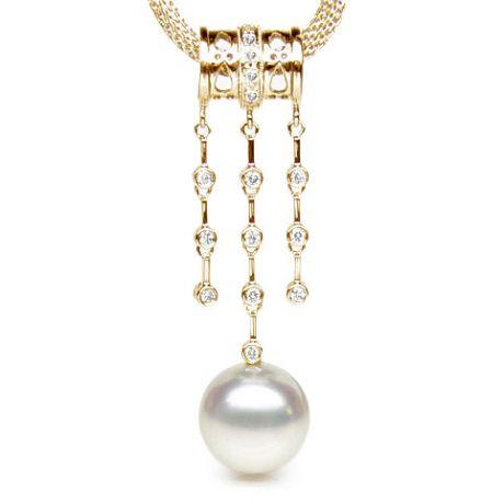 Pendentif joaillerie ethnique - Perle d'Australie - Or jaune, diamants