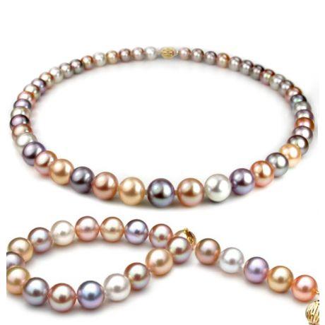 Parure perles culture multicolores - Collier, bracelet perles 7.5/8mm