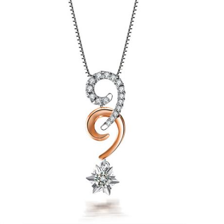 Pendentif 99 - Or blanc et rose - Diamants 0.25ct