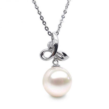 Pendentif brindille or blanc diamant clos - Perle blanche de culture