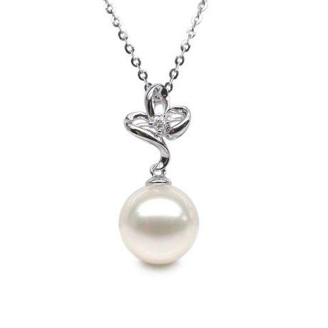 Pendentif or blanc 3 pétales de fleur - Perle de culture, diamant