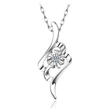 Pendentif byzantin - Fleur diamantée - Pendentif or blanc