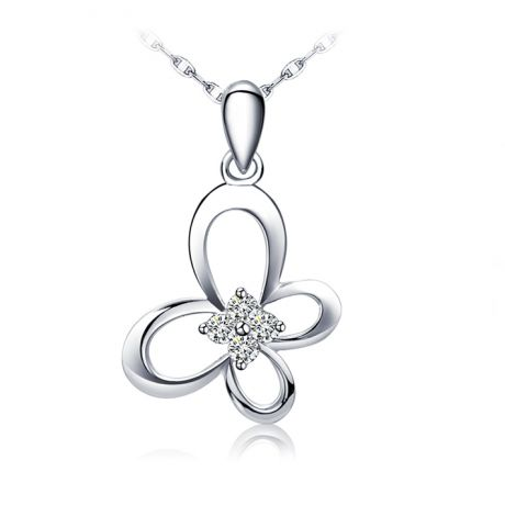 Pendentif fleur papillonnante - Or blanc 18 carats - Diamants 0.08ct