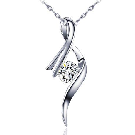 Pendentif byzantin - Ruban torsadé - Or blanc, diamant 0.20ct