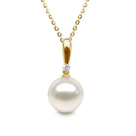 Pendentif Hainan or jaune et perle - En forme de tige - Diamant