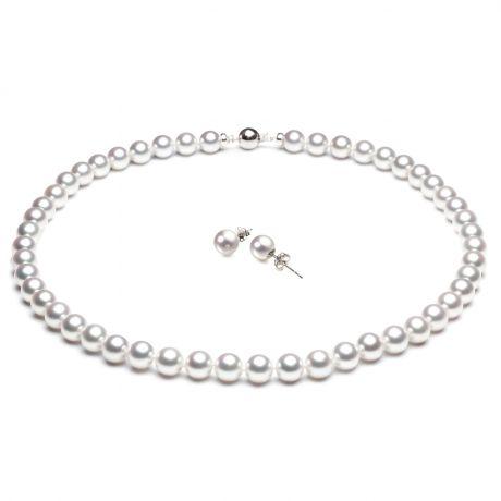 Parure collier boucle oreille - Perles Akoya mer Japon 7/7.5mm