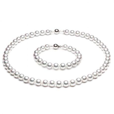 Parure or blanc perles du Japon - Perle de mer Akoya 7/7.5mm, AAA