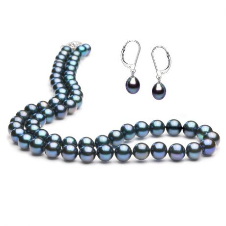Parure noire bijoux - Colliers, boucles oreilles - Perles, or blanc