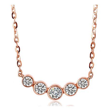 Collier pendentif Or rose. 5 diamants sertis clos 0.26ct | Gemperles