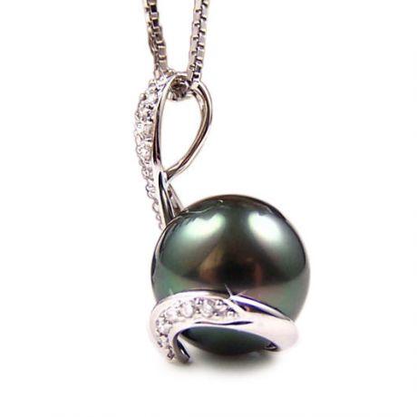 Pendentif écharpe diamantée - Perle de Tahiti noire, bronze - Or blanc