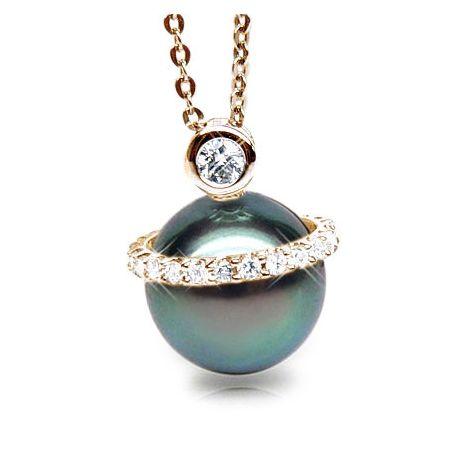 Pendentif de style - Cerclage mobile - Perle Tahiti, or jaune, diamants