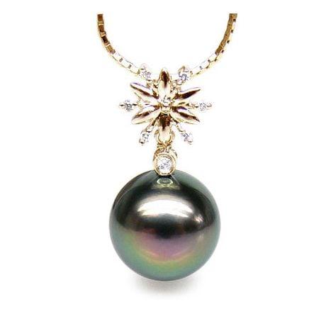 Ciondolo stella oro giallo - Perla di Tahiti nera, pavone - 10/11mm