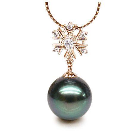 Pendentif flocon de neige - Perle de Tahiti bleue - Or jaune, diamants