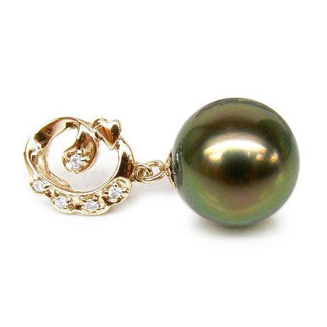 Pendentif création exclusive - Perle de Tahiti - Or jaune, diamants