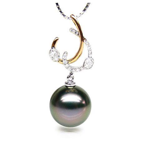 Pendentif dual or jaune et blanc - Perle de Tahiti - Diamants