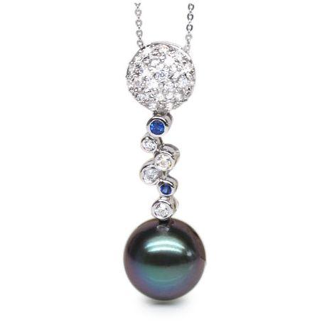 Pendentif boules - Perle de Tahiti - Or blanc, diamants, saphirs bleus