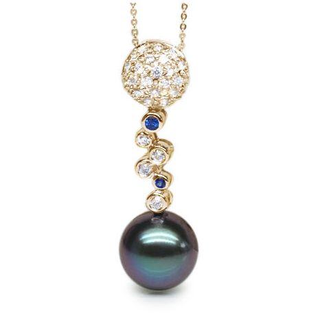 Pendentif boules - Perle de Tahiti - Or jaune, diamants, saphirs bleus