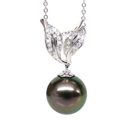 Création pendentif feuilles - Perle Tahiti noire paon - Or blanc, diamants