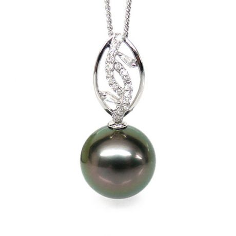 Pendentif deux feuilles - Perle de Tahiti - Or blanc, diamants