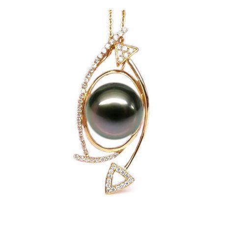 Pendentif elliptique - Perle Tahiti paon aubergine - Or jaune, diamants