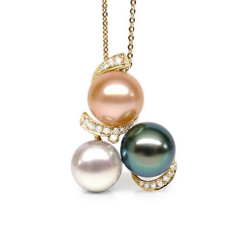 Pendentif trilogie - Perle Tahiti, perles eau douce - Or jaune, diamants