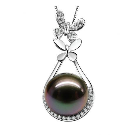 Pendentif papillon - Perle de Tahiti noire - Or blanc, diamants
