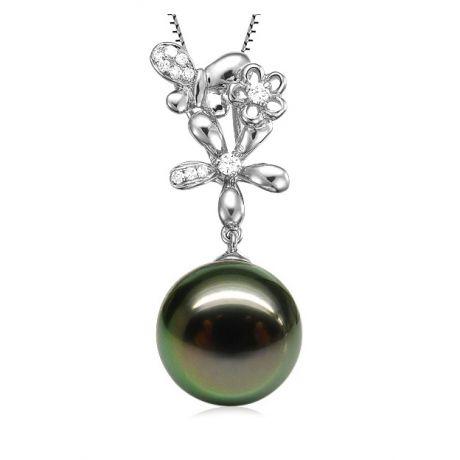 Pendentif perle de Tahiti - Vol des papillons - Or blanc, diamants