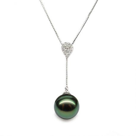 Collier pendentif or blanc et perle de Tahiti - Pendant nacré