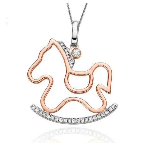 Pendentif 2 ors - Cheval avec crinière et bascule en diamants