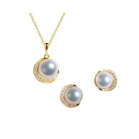 Pendentif et Boucles Hinata. Perles Akoya, Or jaune, diamants.