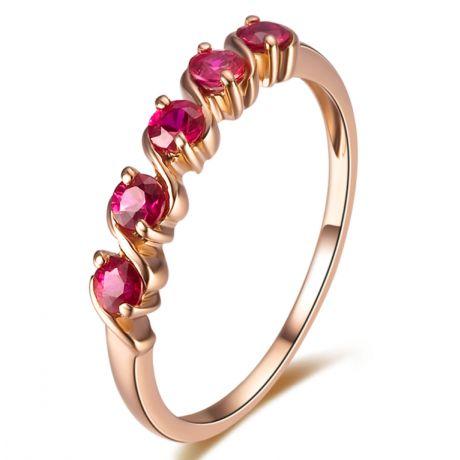Bague or rose avec 5 rubis 0.50ct - Bandelettes incurvées en vagues