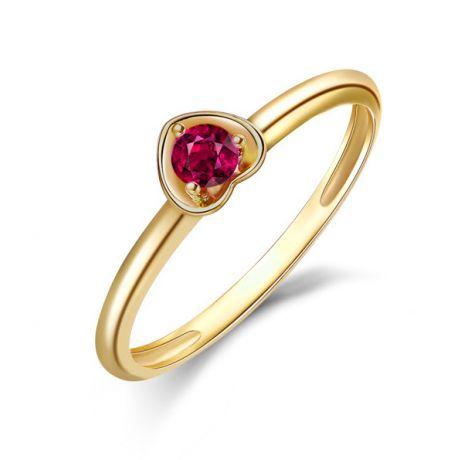 Bague rubis et or jaune - Monture en forme de coeur