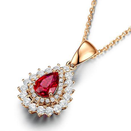 Pendentif rubis rouge vif taillé poire. Diamants sertis et Or rose