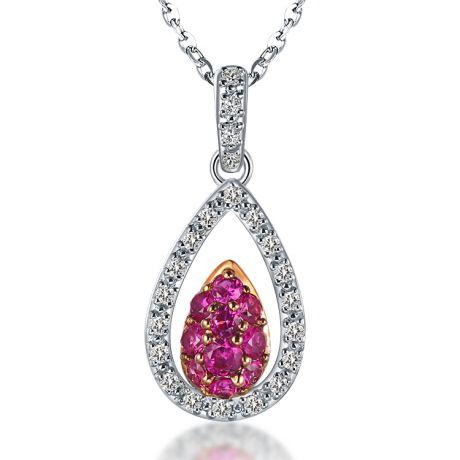 Pendentif pétale or blanc - 2 pétales superposées - Rubis et diamants en pendeloque