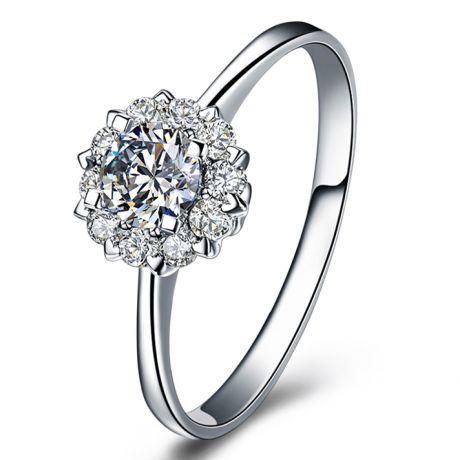 Anello Solitario Composto Cuore Screziato - Oro Bianco & Diamanti 0.33ct | Gemperles